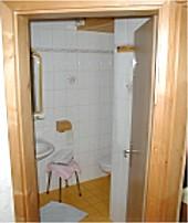 Das Bad ist mit Dusche und WC ausgestattet